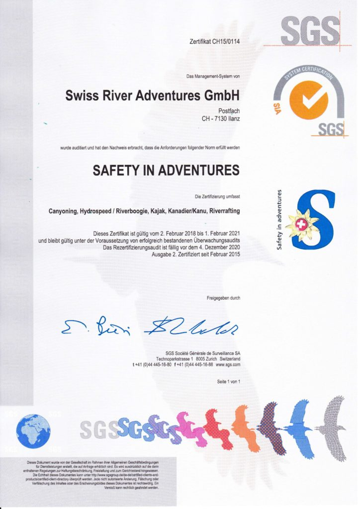 Safety - Swiss River Adventures